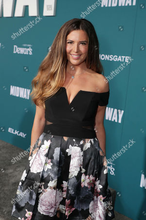 Stock Image of Ashley Cusato attends the Lionsgate's MIDWAY World Premiere at the Regency Village Theatre in Los Angeles, CA on November 5, 2019.