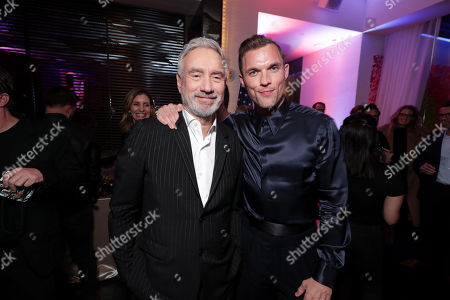 Roland Emmerich, Director/Producer, and Ed Skrein attend the Lionsgate's MIDWAY World Premiere at the Regency Village Theatre in Los Angeles, CA on November 5, 2019.