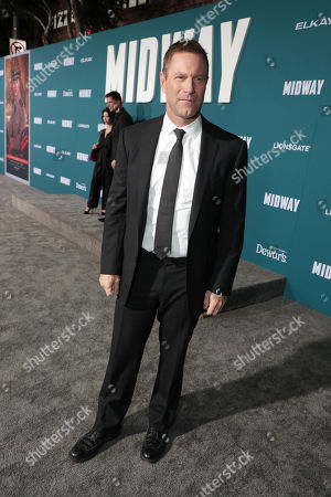 Aaron Eckhart attends the Lionsgate's MIDWAY World Premiere at the Regency Village Theatre in Los Angeles, CA on November 5, 2019.
