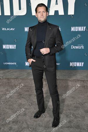 "Luke Kleintank attends the world premiere of ""Midway"" at the Regency Village Theatre, in Los Angeles"
