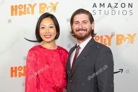 """Anita Gou, Christopher Leggett. Anita Gou, left, and Christopher Leggett arrive at the LA Premiere of """"Honey Boy"""" at the ArcLight Hollywood, in Los Angeles"""