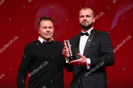 Bill Gerber and Andriy Rymaruk after winning 'Special Jury Prize' for the film 'Atlantis'