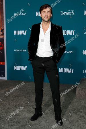 Brandon Sklenar poses upon arriving at the 'Midway' movie premiere at the Regency Village Theatre in Westwood, Los Angeles, California, USA, 05 November 2019. The movie is to be released in US theaters on 08 November 2019.