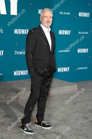 Roland Emmerich poses upon arriving at the 'Midway' movie premiere at the Regency Village Theatre in Westwood, Los Angeles, California, USA, 05 November 2019. The movie is to be released in US theaters on 08 November 2019.