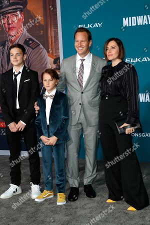 Patrick Wilson (2-R) poses with his wife, American-Polish actress Dagmara Dominczyk (R) and their children Kassian McCarrell Wilson (2-L) and Kalin Patrick Wilson (L), upon arriving at the 'Midway' movie premiere at the Regency Village Theatre in Westwood, Los Angeles, California, USA, 05 November 2019. The movie is to be released in US theaters on 08 November 2019.