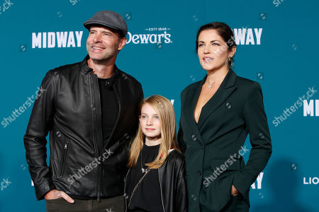 Scott Foley (L) poses with his wife, American-Polish actress Marika Dominczyk (R) and their daughter Malina Jean Foley (C), upon arriving at the 'Midway' movie premiere at the Regency Village Theatre in Westwood, Los Angeles, California, USA, 05 November 2019. The movie is to be released in US theaters on 08 November 2019.