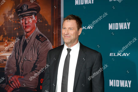 Aaron Eckhart poses upon arriving at the 'Midway' movie premiere at the Regency Village Theatre in Westwood, Los Angeles, California, USA, 05 November 2019. The movie is to be released in US theaters on 08 November 2019.