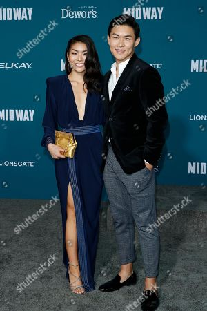 Japanese-American singer Masumi (L) and Taiwanese actor Kenny Leu (R) pose upon arriving at the 'Midway' movie premiere at the Regency Village Theatre in Westwood, Los Angeles, California, USA, 05 November 2019. The movie is to be released in US theaters on 08 November 2019.
