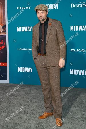 Brett Dalton poses upon arriving at the 'Midway' movie premiere at the Regency Village Theatre in Westwood, Los Angeles, California, USA, 05 November 2019. The movie is to be released in US theaters on 08 November 2019.