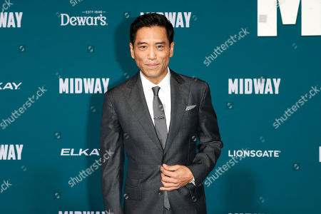 Peter Shinkoda poses upon arriving at the 'Midway' movie premiere at the Regency Village Theatre in Westwood, Los Angeles, California, USA, 05 November 2019. The movie is to be released in US theaters on 08 November 2019.