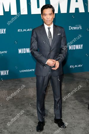 Stock Picture of Peter Shinkoda poses upon arriving at the 'Midway' movie premiere at the Regency Village Theatre in Westwood, Los Angeles, California, USA, 05 November 2019. The movie is to be released in US theaters on 08 November 2019.