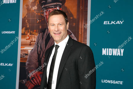 Stock Image of Aaron Eckhart poses upon arriving at the 'Midway' movie premiere at the Regency Village Theatre in Westwood, Los Angeles, California, USA, 05 November 2019. The movie is to be released in US theaters on 08 November 2019.