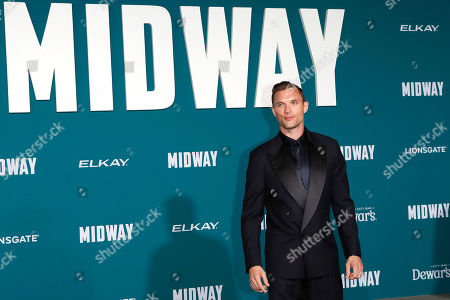 Stock Picture of Ed Skrein poses upon arriving at the 'Midway' movie premiere at the Regency Village Theatre in Westwood, Los Angeles, California, USA, 05 November 2019. The movie is to be released in US theaters on 08 November 2019.
