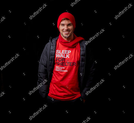 Stock Image of Kieron Richardson joins celebrities to encourage the UK to sign up for Sleep Walk for Shelter, a 10k walk happening across London and Manchester this December to fight homelessness.