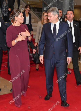 Stock Photo of Sweden's Crown Princess Victoria and Prime Minister Denis Zvizdic during the Smart Growth for the new climate reality conference in Sarajevo