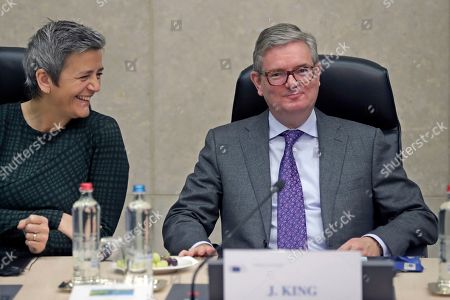 EU Commissioner for Competition, Danish Margrethe Vestager (L) and European Commissioner for Security Union, British Julian King at the start of a college meeting of the European Commission in Brussels, Belgium, 06 November 2019.