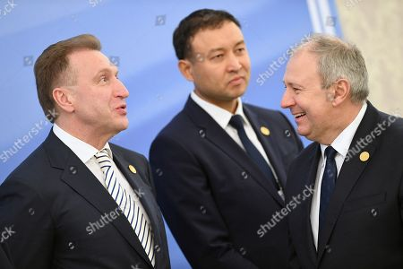 Chairman of the VEB.RF State Development Corporation Igor Shuvalov (left) before the signing ceremony of the agreements after the meeting of the Council of Heads of delegations of SCO in expanded format at the Kuksaroi state residence.