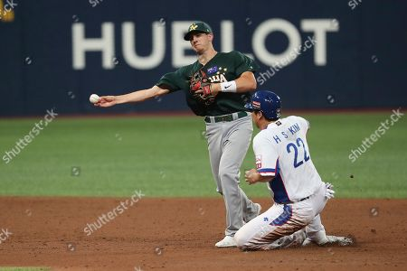 Kim Hyun-soo, Robert Glendinning. South Korea's Kim Hyun-soo is out sliding into second base as Australia's second base Robert Glendinning throws to first base during the 4th inning of the group C of the WBSC Premier12 2019 world baseball tournament at Gocheok Sky Dome in Seoul, South Korea