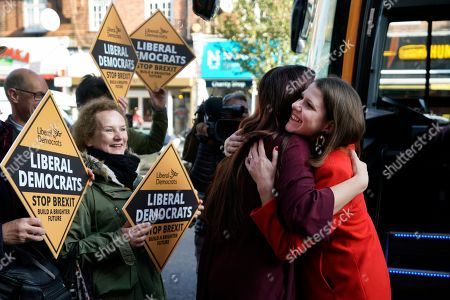 Liberal Democrat Leader Jo Swinson (R) greets Luciana Berger (L) MP ahead of a visit to a cafe ran by mental health charity JAMI during a campaign event in Central London, Britain, 06 November 2019. British Prime Minister Boris Johnson has called a general election for 12 December 2019.