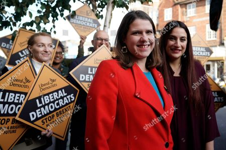 Liberal Democrat Leader Jo Swinson (C) greets Luciana Berger MP ahead of a visit to a cafe ran by mental health charity JAMI during a campaign event in Central London, Britain, 06 November 2019. British Prime Minister Boris Johnson has called a general election for 12 December 2019.
