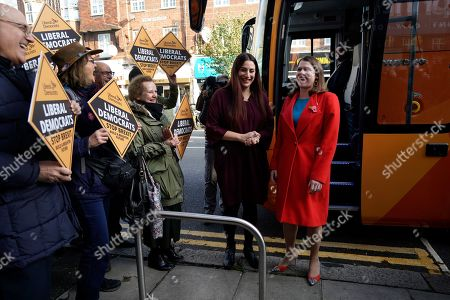 Liberal Democrat Leader Jo Swinson (R) greets Luciana Berger MP ahead of a visit to a cafe ran by mental health charity JAMI during a campaign event in Central London, Britain, 06 November 2019. British Prime Minister Boris Johnson has called a general election for 12 December 2019.