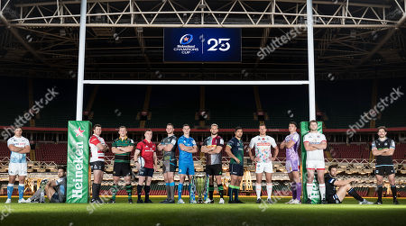 Stock Photo of Pictured (L-R) Sale Sharks' Jono Ross, Glasgow Warriors' Callum Gibbins, Gloucester's Ben Morgan, Northampton Saints' Alex Waller, Munster's Rory Scannell, Ospreys' Dan Lydiate, Leinster's Johnny Sexton, Harlequins' Chris Robshaw, Connacht's Jarrad Butler, Benetton's Alberto Sgarbi, Exeter Chiefs' Sam Skinner, Ulster's Iain Henderson, Bath Rugby's Charlie Ewels and Glasgow Warriors' Callum Gibbins
