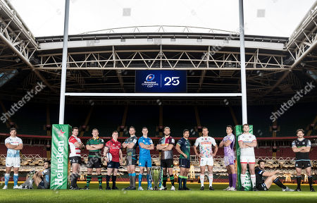 Stock Image of Pictured (L-R) Sale Sharks' Jono Ross, Glasgow Warriors' Callum Gibbins, Gloucester's Ben Morgan, Northampton Saints' Alex Waller, Munster's Rory Scannell, Ospreys' Dan Lydiate, Leinster's Johnny Sexton, Harlequins' Chris Robshaw, Connacht's Jarrad Butler, Benetton's Alberto Sgarbi, Exeter Chiefs' Sam Skinner, Ulster's Iain Henderson, Bath Rugby's Charlie Ewels and Glasgow Warriors' Callum Gibbins