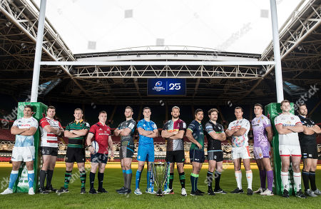 Pictured (L-R) Sale Sharks' Jono Ross, Gloucester's Ben Morgan, Northampton Saints' Alex Waller, Munster's Rory Scannell, Ospreys' Dan Lydiate, Leinster's Johnny Sexton, Harlequins' Chris Robshaw, Connacht's Jarrad Butler, Glasgow Warriors' Callum Gibbins, Benetton's Alberto Sgarbi, Exeter Chiefs' Sam Skinner, Ulster's Iain Henderson and Bath Rugby's Charlie Ewels