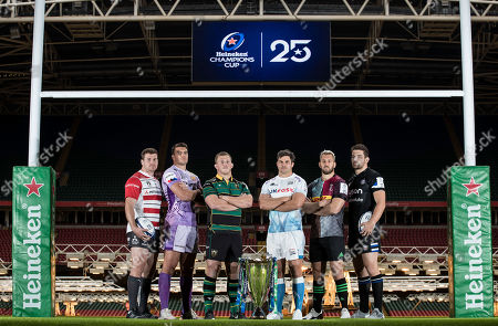 Pictured (L-R) Gloucester's Ben Morgan, Exeter Chiefs' Sam Skinner, Northampton Saints' Alex Waller, Sale Sharks' Jono Ross, Harlequins' Chris Robshaw and Bath Rugby's Charlie Ewels