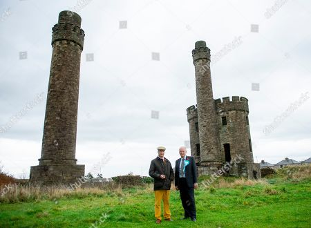 Brexit Party leader Nigel Farage stands with David Walker, the local Brexit party candidate, at a visit to Jane Pit, a coal mine from the 19th century, in Workington, Britain, 06 November 2019. Britons go to the polls on 12 December in a general election.