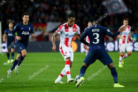 Van la Parra of Red Star Belgrade takes on Dany Rose of Tottenham