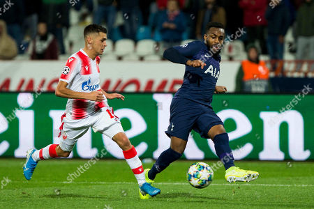 Stock Image of Dany Rose of Tottenham competes against Mateo Garcia of Red Star Belgrade