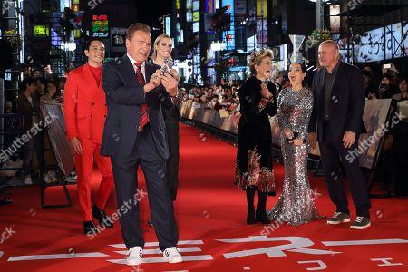 Stock Photo of Gabriel Luna, Mackenzie Davis, Arnold Schwarzenegger, Linda Hamilton, Natalia Reyes, Tim Miller