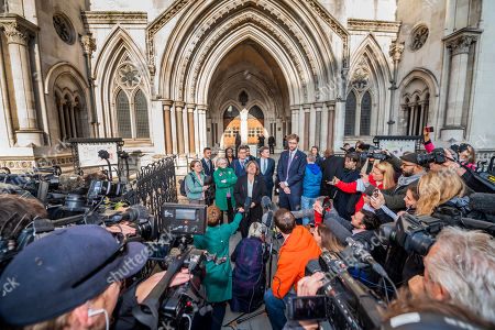 Spokespeople and lawyers including Baroness Jenny Jones, MEP Ellie Chowns and lawyer Tobias Garnet announce the result of the case