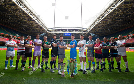 Ellis Jenkins of Cardiff Blues representing the clubs in the Challenge Cup, centre left, and Jonny Sexton of Leinster, centre right, lead players from the Gallagher Premiership and PRO14 clubs in the Champions Cup, at the 2019-20 season launch of the Heineken Champions Cup and Challenge Cup for Gallagher Premiership Rugby and PRO14 Clubs