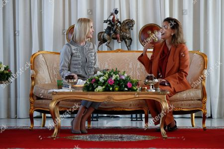 Ivanka Trump, Lalla Meryem. Ivanka Trump, the daughter and senior adviser to President Donald Trump, is greeted by Princess Lalla Meryem of Morocco as she arrives in Rabat, Morocco, where she will promote a global economical program for women