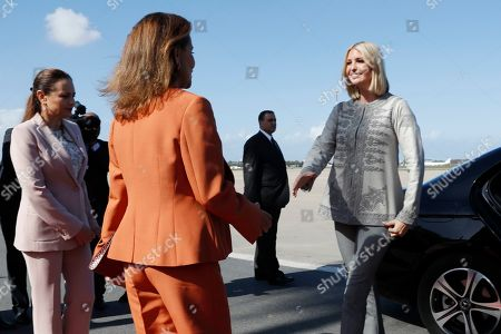 Ivanka Trump, the daughter and senior adviser to President Donald Trump, is greeted by Princess Lalla Meryem of Morocco as she arrives in Rabat, Morocco, where she will promote a global economical program for women