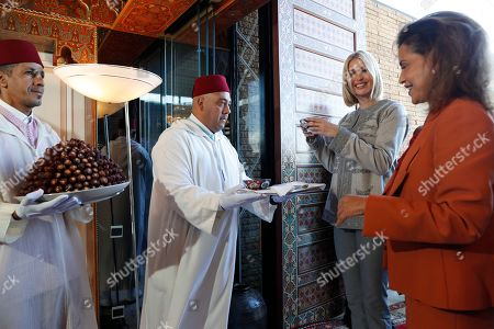 Ivanka Trump, the daughter and senior adviser to President Donald Trump, is greeted by Princess Lalla Meryem of Morocco and is offered dates and milk, as she arrives in Rabat, Morocco, where she will promote a global economical program for women