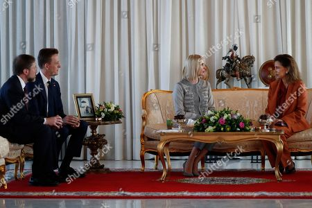 Stock Picture of Ivanka Trump, Lalla Meryem, Sean Cairncross, David Greene. Ivanka Trump, the daughter and senior adviser to President Donald Trump, is greeted by Princess Lalla Meryem of Morocco as she arrives in Rabat, Morocco, where she will promote a global economical program for women. Sean Cairncross, CEO of the Millennium Challenge Corporation David Greene, second from left, and Charge d'Affaires of the Moroccan Embassy, left