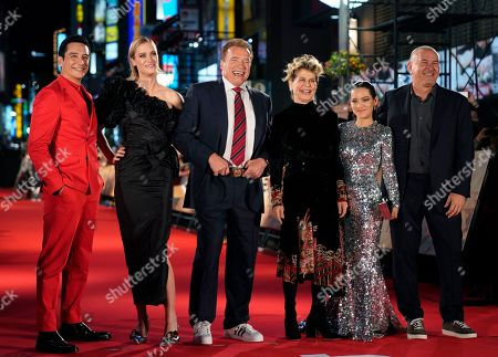 Gabriel Luna, Canadian actress Mackenzie Davis, Austrian-US actor Arnold Schwarzenegger, US actress Linda Hamilton, Colombian actress Natalia Reyes, and US film director Tim Miller pose for photographs during the Japanese premiere of 'Terminator: Dark Fate' in Tokyo, Japan, 06 November 2019. The movie will open in theaters across Japan on 08 November 2019.