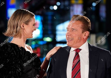 Mackenzie Davis (L) and Austrian-US actor Arnold Schwarzenegger smile during the Japanese premiere of 'Terminator: Dark Fate' in Tokyo, Japan, 06 November 2019. The movie will open in theaters across Japan on 08 November 2019.