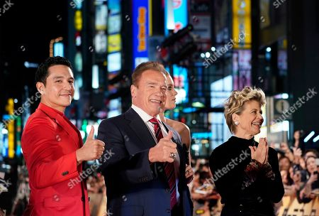 Gabriel Luna, Austrian-US actor Arnold Schwarzenegger and US actress Linda Hamilton pose for photographs during the Japanese premiere of 'Terminator: Dark Fate' in Tokyo, Japan, 06 November 2019. The movie will open in theaters across Japan on 08 November 2019.