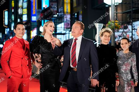 Gabriel Luna, Canadian actress Mackenzie Davis, Austrian-US actor Arnold Schwarzenegger, US actress Linda Hamilton and Colombian actress Natalia Reyes pose for photographs during the Japanese premiere of 'Terminator: Dark Fate' in Tokyo, Japan, 06 November 2019. The movie will open in theaters across Japan on 08 November 2019.
