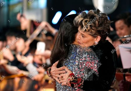 Stock Picture of Linda Hamilton (R) hugs Colombian actress Natalia Reyes during the Japanese premiere of 'Terminator: Dark Fate' in Tokyo, Japan, 06 November 2019. The movie will open in theaters across Japan on 08 November 2019.