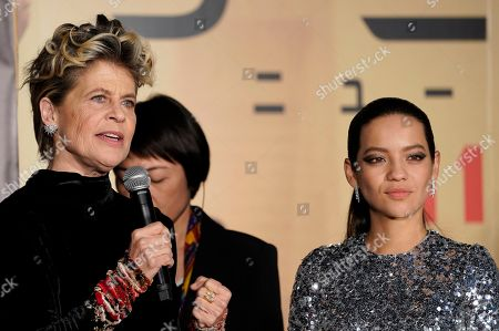 Linda Hamilton (L) and Colombian actress Natalia Reyes attend the Japanese premiere of 'Terminator: Dark Fate' in Tokyo, Japan, 06 November 2019. The movie will open in theaters across Japan on 08 November 2019.