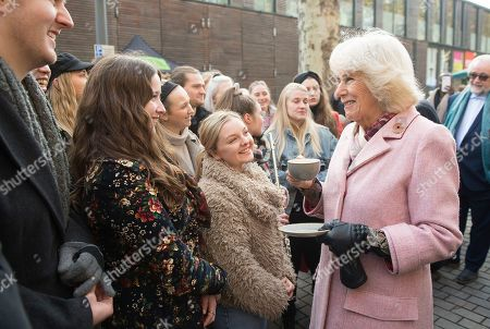 Camilla Duchess of Cornwall visiting Swiss Cottage Farmers Market On arrival at the Farmers' Market, Their Royal Highnesses will watch a performance by a band from Camden-based Young Music Makers, before visiting stalls and meeting stallholders, including several who have sold at the market since its first year in 1999. During the visit, a 'flash mob' performance of Oliver! by the Royal Central School of Speech & Drama will take place around Their Royal Highnesses.