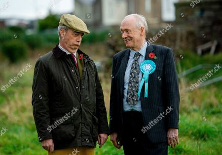Stock Picture of Brexit Party leader Nigel Farage (L) meets local candidate David Walker in Whitehaven, Britain, 06 November 2019. Britons go to the polls on 12 December in a general election