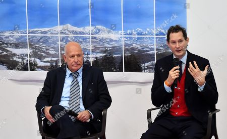 Mayor of Amatrice Antonio Fontanella (L) and Ferrari President John Elkann attend the inauguration ceremony of a school named after FCA former CEO Sergio Marchionne, in Amatrice, near Rieti, central Italy, 06 November 2019. Italian-Canadian businessman Sergio Marchionne, former CEO of Fiat Chrysler Automobiles (FCA), died on 25 July 2018 at the age of 66.