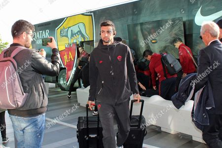 AS Roma's Javier Pastore departs from Fiumicino airport in Fiumicino, Rome, Italy, 06 November 2019. AS Roma will face Borussia Moenchengladbach in their UEFA Europa League group J soccer match on 07 November 2019.