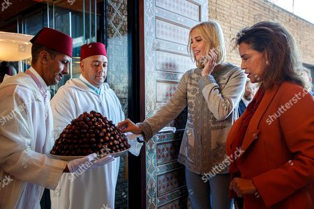 Ivanka Trump, Lalla Meryem. Ivanka Trump, the daughter and senior adviser to President Donald Trump, is offered dates during a traditional greeting by Princess Lalla Meryem of Morocco, right, as Trump arrives in Rabat, Morocco, where she will promote a global economical program for women